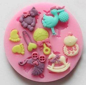 Baby Pram Bear Carrousel Silicone Fondant Cake Mold
