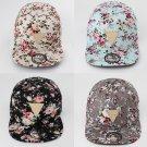 Floral Flower Hip Hop Snapback Hats Flat Adjustable Baseball Cap