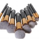 10 pcs Wooden Handle Makeup Kit Cosmetic Brushes Set