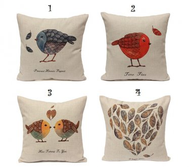 Bird Printed Cushion Cover Invisible Zipper Pillowcase 45*45CM