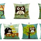 Cartoon Owl Print Pillow Case Home Office Car Cushion