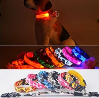 Pet Dog LED Collar Nylon Safety Light-up Flashing Collar