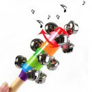 Baby Rainbow Crib Handle Wooden Bell Stick Shaker Rattle Toy