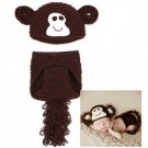 Baby Infant Monkey Crochet Costume Photography Prop Clothes