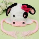 Animal Newborn Baby Cow Hat Knit Braided Tassels Cap