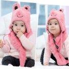 2PCS Baby Children Boys Girls Animal Braid Cap Scarf Hat Set