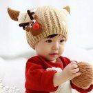 Children Boys Girls Baby Christmas Cap Woolen Fawn Snowflake Hat