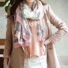 Women Elegant Pink Print Long Silk Cotton Blend Soft Scarf Shawls