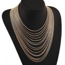 Multilayer Gold Chain Wide Pendant Tassel Statement Necklace