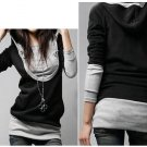 U Shape Hooded Long Sleeve Cotton Shirt
