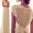 Womens Lace Evening Bowknot Cocktail Prom Bridesmaid Long Wedding Dress