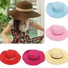 Kids Girls Child Summer Roll Up Straw Sun Hat Large Wide Brim Bow Beach Cap