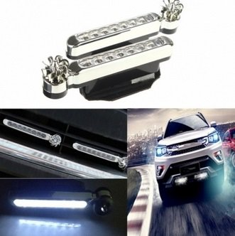 Wind Powered 8 LEDs Automobile DRL Daytime Running Light Fog Auto Head Lamp