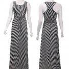 Women Black White Stripe Sleeveless H Back Long Maxi Dress With Belt