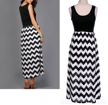Wave Black White Maxi Dress Stripe Sleeveless Long Dresses