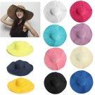 Summer Large Wide Floppy Brim Straw Beach Sun Hat Colorful Cap