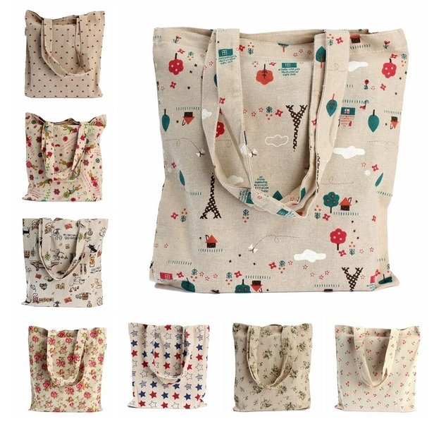 Canvas Reusable Brief Storage Shopping Shoulder Tote Handbag Grocery Bags