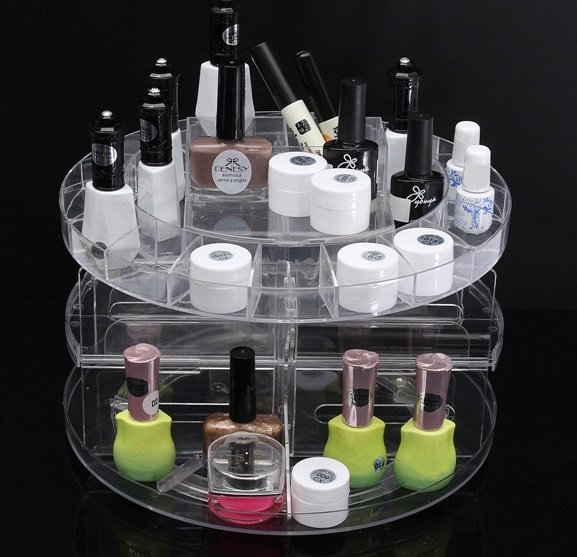 Transparent Plastic 360 Degree Makeup Cosmetic Perfume Nail polishStorage Organizer Holder