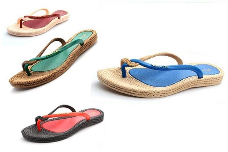 Flat Flip-Flops Thongs Slippers Rattan Grass Sandals