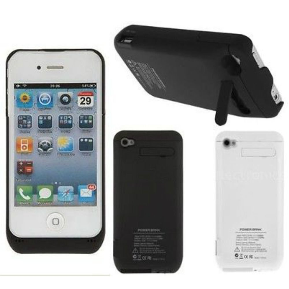 3000mAh Power Pack External Charger Backup Battery Case Cover for iPhone 4 4S