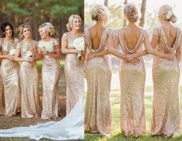 Women Long Sequins Evening Formal Party Prom Wedding Dress Bridesmaid Ball Gowns