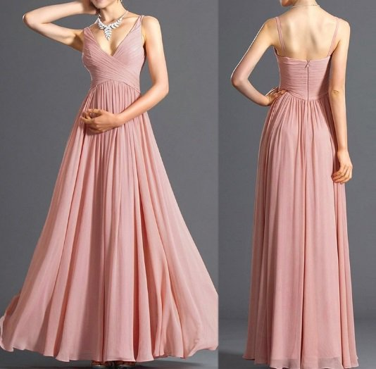 Women Strap Chiffon Party Cocktail V Neck Bridesmaid Wedding Formal Pleated Long Dress