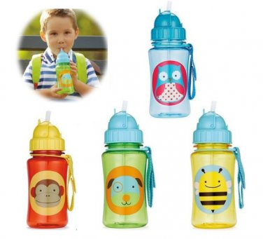 Cartoon Animal Straw Cup Water Bottle Non-toxic BPA-Free Drinking Cup