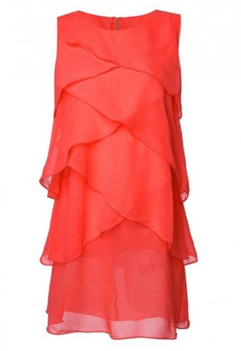 Women Round Neck Sleeveless Chiffon Layered Beach Dress