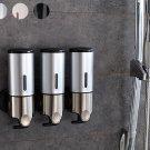 3Pcs Wall Mounted Bathroom Lotion Shampoo Liquid Soap Dispenser Set Stainless Steel