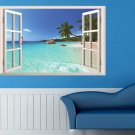 3D Hawaii Holiday Seaview Beach Window View Decal Wall Sticker