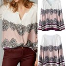 Boho Vintage Women Floral Print V Neck Casual Blouse Loose Long Raglan Sleeve Shirt