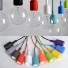 Colorful E27 Silicone Rubber Pendant Light Lamp Holder Socket DIY