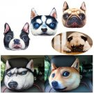 28X20cm Plush Creative 3D Dog Face Throw Pillows Sofa Car Seat Cushion With Backstrap