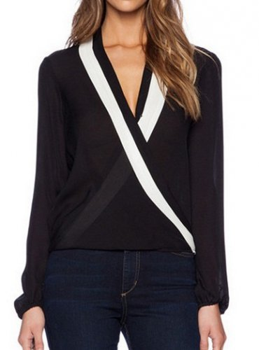 Women V Neck Long Sleeve Chiffon Blouse