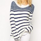 Women Striped Navy Casual Round Neck Pullover