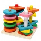 Wooden Blocks Creative Building Blocks Children Game Education Toy Multicolor