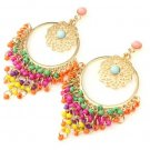 Colorful Bohemia Hollow Flower Tassel Statement Dangle Drop Earrings