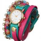 PU Leather Wrap Strap Rhinestone Bracelet Quartz Watch