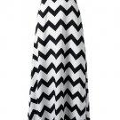 Neck Sleeveless White And Black Stripe Printing Stripe Long Dress