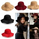 Kids Girls Caps Artificial Wool Hat Wide Brim Cloche Bowknot Trilby