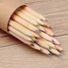 Natural 24 Colors Wooden Craft Paper Cartridge Green Colored Drawing Pencils