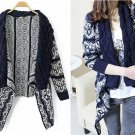 Casual Lapel Geometric Pattern Long Sleeve Knit Sweater Cardigan