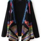 Geometric Pattern Long Sleeve Knit Sweater Cardigan