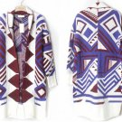 Retro Style Geometric Pattern Long Sleeve Loose Cardigan