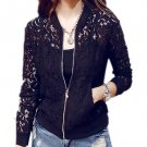 Lace Zipper Casual Hollow Out Long Sleeve Jacket