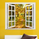 3D Window View Yellow Wood 3D Wall Decals Autumn View Stickers Home Wall Decor Gift