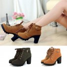 Women Solid European PU Leather Fashion Rough Heels Boots