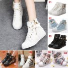 Womens Girls Lace-up Ankle Boots Canvas Shoes Flats Sneakers Outerdoor Sports