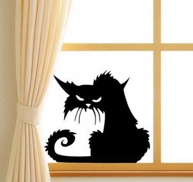 Halloween Scary Black Cat Glass Sticker Halloween Decor