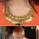 Vintage Coins Pendant Bib Chunky Charm Choker Statement Necklace